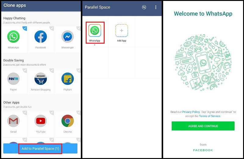 dual whatsapp with parallel space